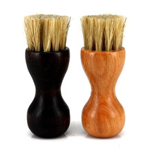 NEW  Wooden Cleaning Brush Shoe Elliptical Mini Easy To Carry Small Gift Pig hair brush Home Tools