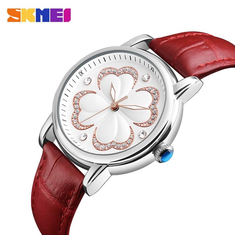 SKMEI Fashion Women Watches Luxury Brand Leather Strap Quartz Watch Ladies Waterproof Dress Wristwatches Relogio Feminino 9159