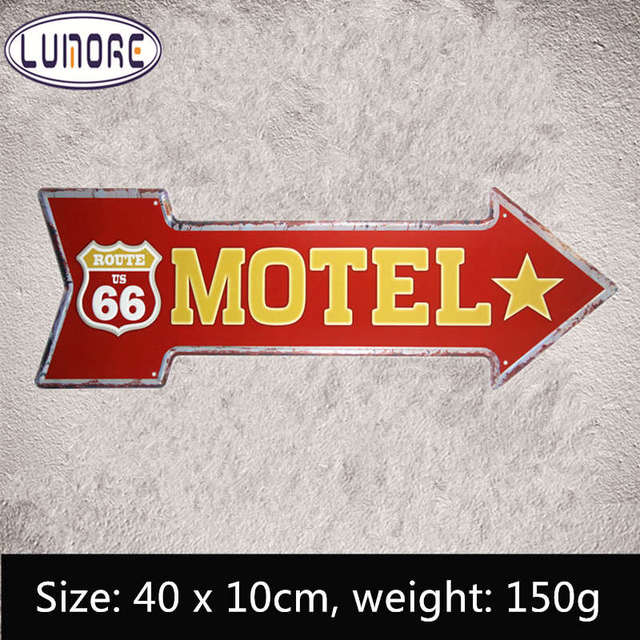 tin signs route 66 motel vintage arrow sign retro gift craft
