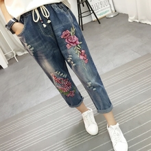 2017 New Fashion Women Flower Embroidery Loose Blue Denim Pants Casual High Waist Floral Jeans Capris