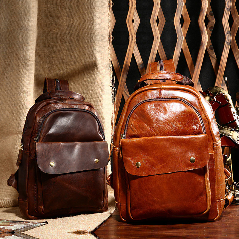 Vintage Women High Quality Oil Wax Genuine Leather Backpacks for Teenage Girls Female School Shoulder Rucksack Top Handle Bag