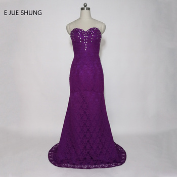 E JUE SHUNG Purple Lace Mermaid Evening Dresses Long 2017 Sweetheart Crystals Prom Dresses Formal Dresses Long Evening Gowns