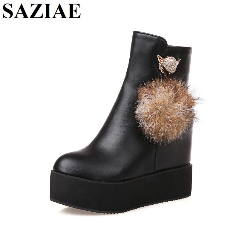 [SAZIAE]Spring/Autumn Fashion Boots Platform Shoes Woman Ankle High Wedges Boots Fur Plush High Quality Female Shoes Women Boots sheepet baby plush toy bear sleeping comfort doll stuffed animal toys smooth bear sleep doll kid nice gift