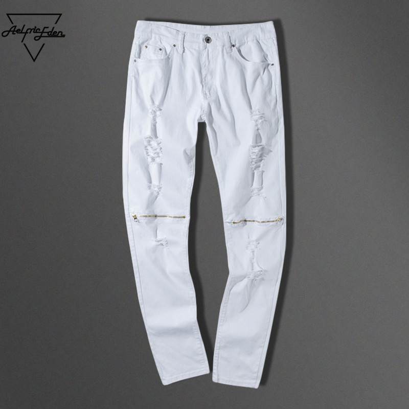 Aelfric Eden Skinny Jeans Mens White Hole Hip Hop Denim Pants Zipper Pencil Kanye West Biker Jeans Fashion Ripped Jeans for Men 2017 ripped straight jeans men slim fit zipper jeans men s hole denim fabric hip hop skinny cotton white blick pants casual mens