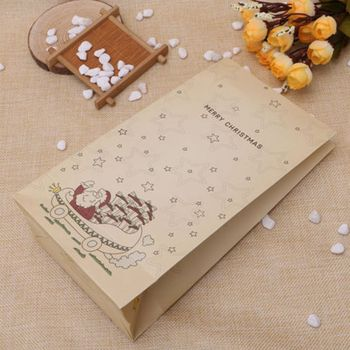 1/3/10 Pcs Christmas Kraft Paper Bags Xmas Tree Santa Claus Paper Bags Party Candy Cookies Present Gift Bag Luxury Wedding Bag 100 pcs paper gift bags with handles for wedding birthday party favors small bag present cosmetics jewelry kraft paper bag candy
