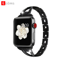 Kobwa Girls Jewellery Watch Band Strap for Apple Watch 38mm/42mm diamond Stainless Metal Strap for iwatch collection Three 2 1 Bracelet
