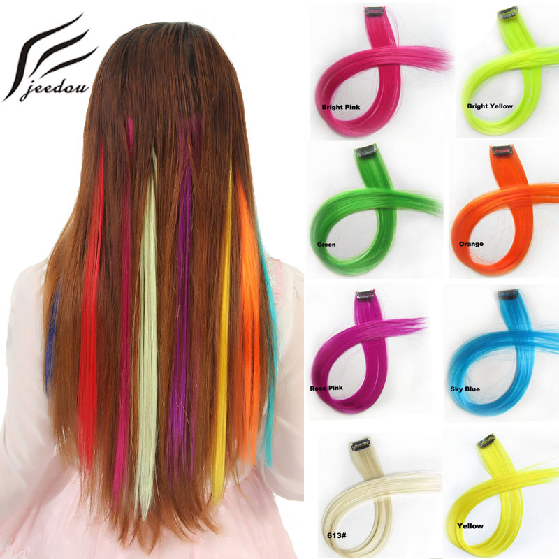 Synthetic Extensions Jeedou 5pieces/lot One Piece 1clip Clip In Hair Extension Straight Hair 55cm Synthetic Pink Red Color Nightclub Trend Hairpieces