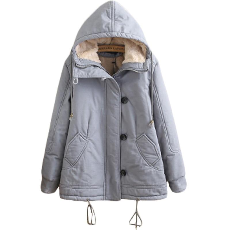 Preppy Style Hooded Khaki Navy Blue Parkas Womens Thick Zippers Buttons Drawstring Winter Warm Coat Outwear Adjustable Hem XH547 куртка everlast hooded bubble navy купить
