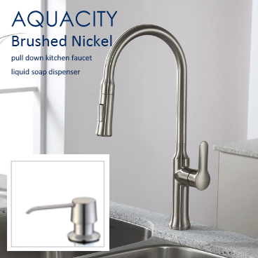 AQUACITY Pull Down Kitchen Faucet Brushed Nickel and Liquid Soap Dispenser