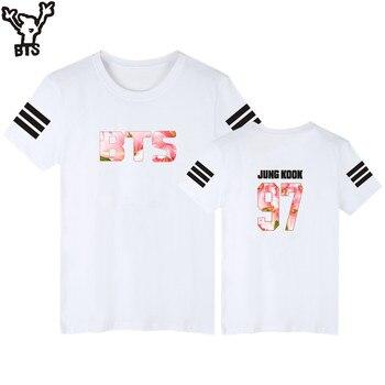 9c10d2a215 BTS t-shirt mujeres manga corta populares Kpop bangtan Idol equipo hombre  marca verano moda casual camiseta hombres algodón