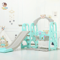 Baby Swing Chair Music Slide Combination Shoot Basketball Story Music Learning Machine Cartoon Set With Water Flooding Board