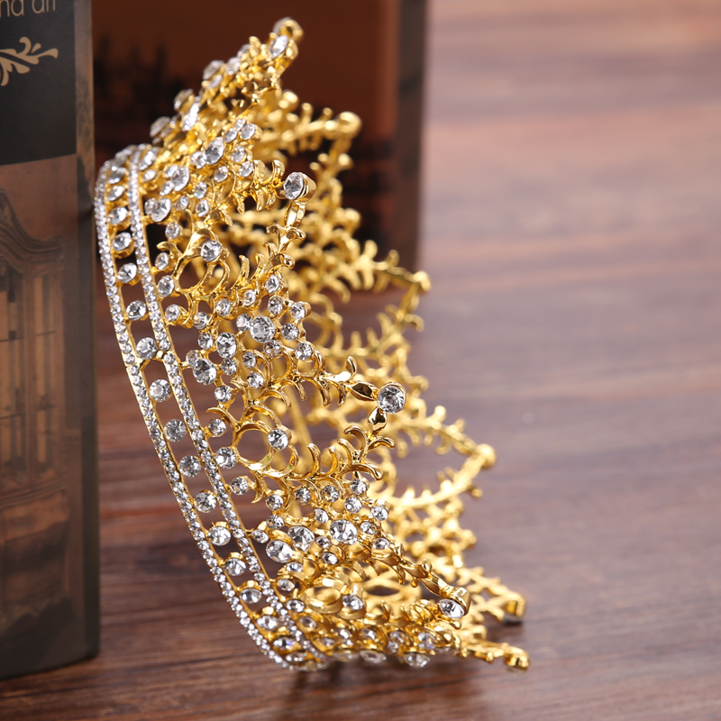 Vintage Round Big Crown Queen Tiara Hair Jewelry Gold Silver Crysta Crown For Wedding Bride Hair Accessories HG192