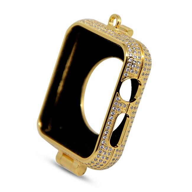Di lusso di bling diamanti di strass incrostato 24kt carati placcato oro gioielli collana della vigilanza della copertura di caso per Apple osservare series1 & 2 e 3 - 4