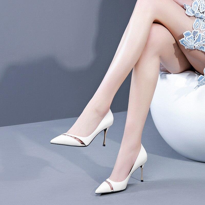 Dentro Primavera Zapatos Alto Tacón Nuevos Ol Señaló 2019 Otoño Blanco 0406 Cómodo De Y 0Idwzq
