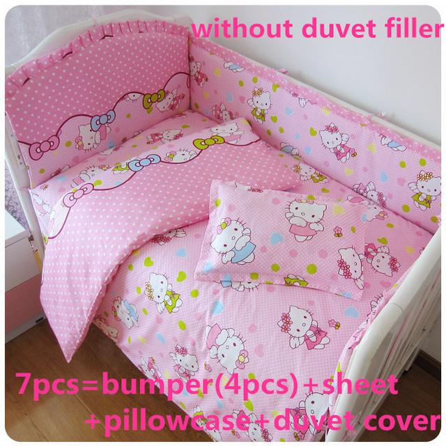 Promoción! 6 / 7 unids Hello Kitty lecho 100% algodón cortina tope del pesebre del bebé juegos de cama para bebé, 120 * 60 / 120 * 70 cm