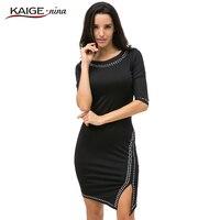 KAIGE NINA Women Autumn Winter Dress Casual Knee Length Fashion Dress O Neck 3 Colors Plus
