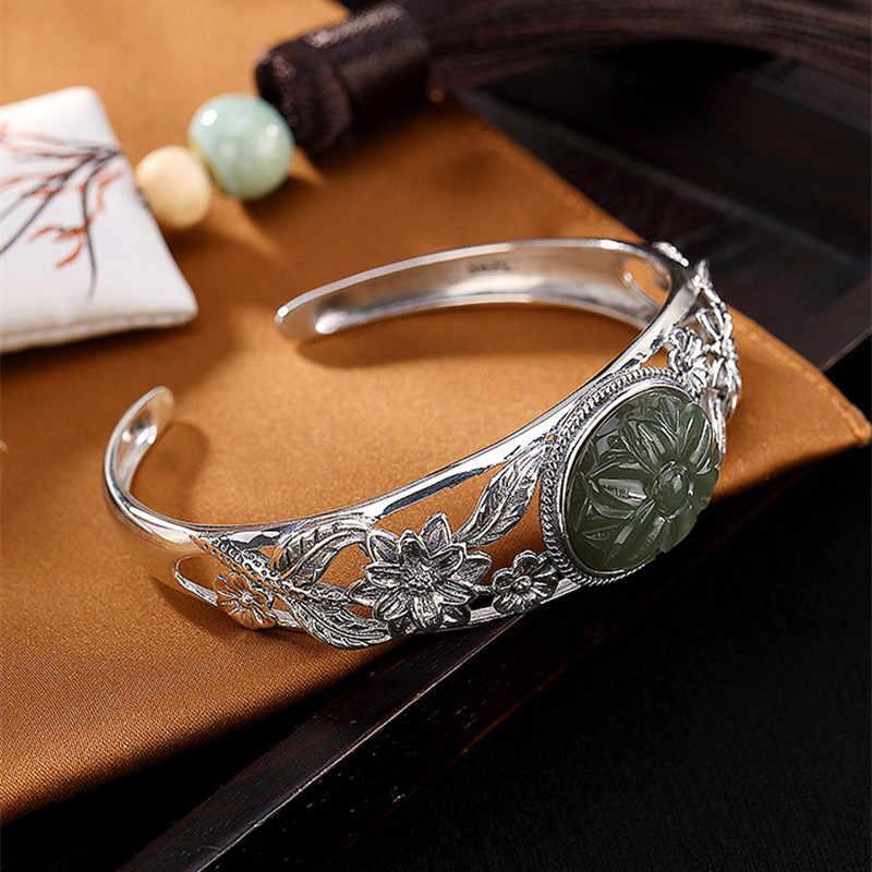 Uglyless 100% prawdziwe naturalne Jade kwiat bransoletki dla kobiet etniczne Plum Blossom szeroko otwarte bransoletka stałe 925 srebro Jasper bransoletka