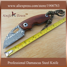 DS026 2016 hot sale damascus steel knife rosewood handle pocket camping knife Yangjiang knife canivetes