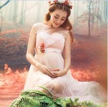 New Lace Maternity Dresses For Photo Shoot Sexy Pregnant Dresses Maternity Gown Off shoulders Pregnancy dress Photography Props(China)