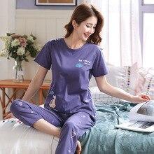 Paars Print Pyjama Vrouwen 2 Stuks Sets Zachte Katoenen Top Elastische Taille Lange Broek Nachtkleding Pijama mujer 100 kg Plus size 4XL 5XL