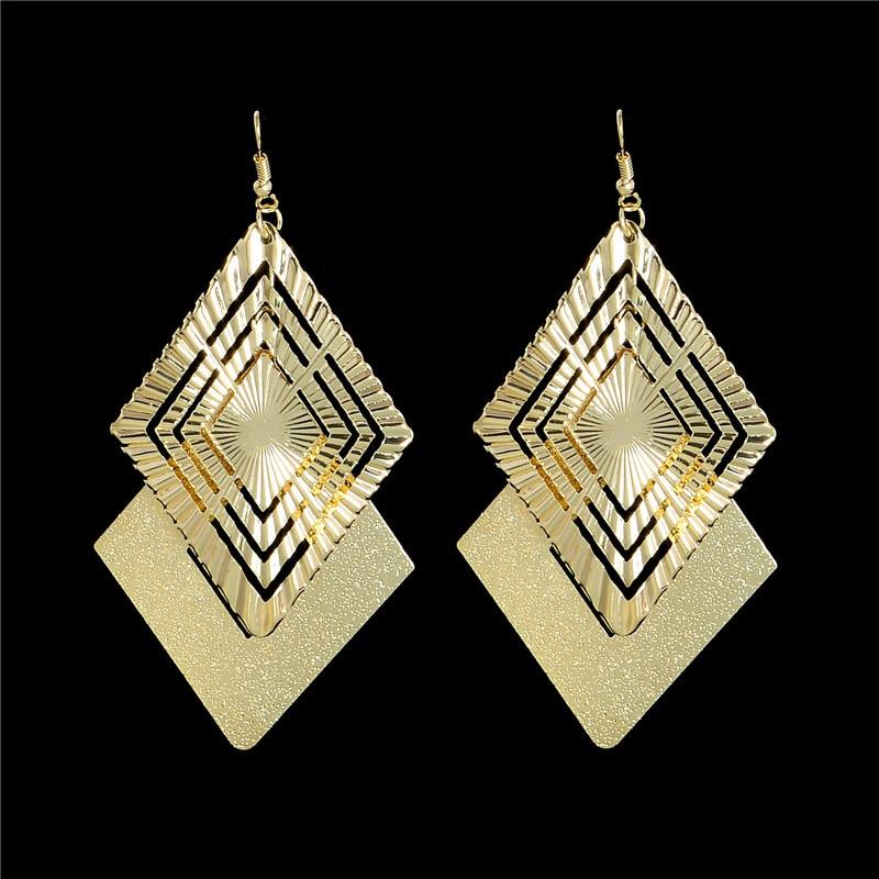 H:HYDE 2017 Fashion Long Earrings For Women 2 Colors Vintage Dangle Earring Drop Gold Color Rhombus Bohemia Earrings