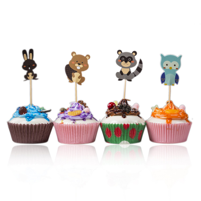 24Pcs Jungle Safari Cupcake Insert Card Animal Cake ...