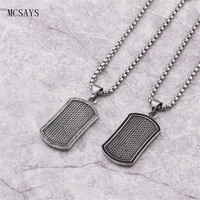 MCSAYS Stainless Steel Punk Necklace Knit Pattern Dog Tag Pendant Silver Color Box Chain Necklace Biker