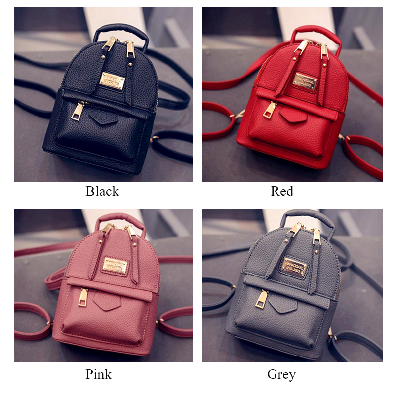 Image 3 - Fashion Wobag Backpacks Woman 2019 Mini PU Leather Backpack Female Solid Color Bookbag Gift Backbag Backpack Schoolbag For GirlsBackpacks   -