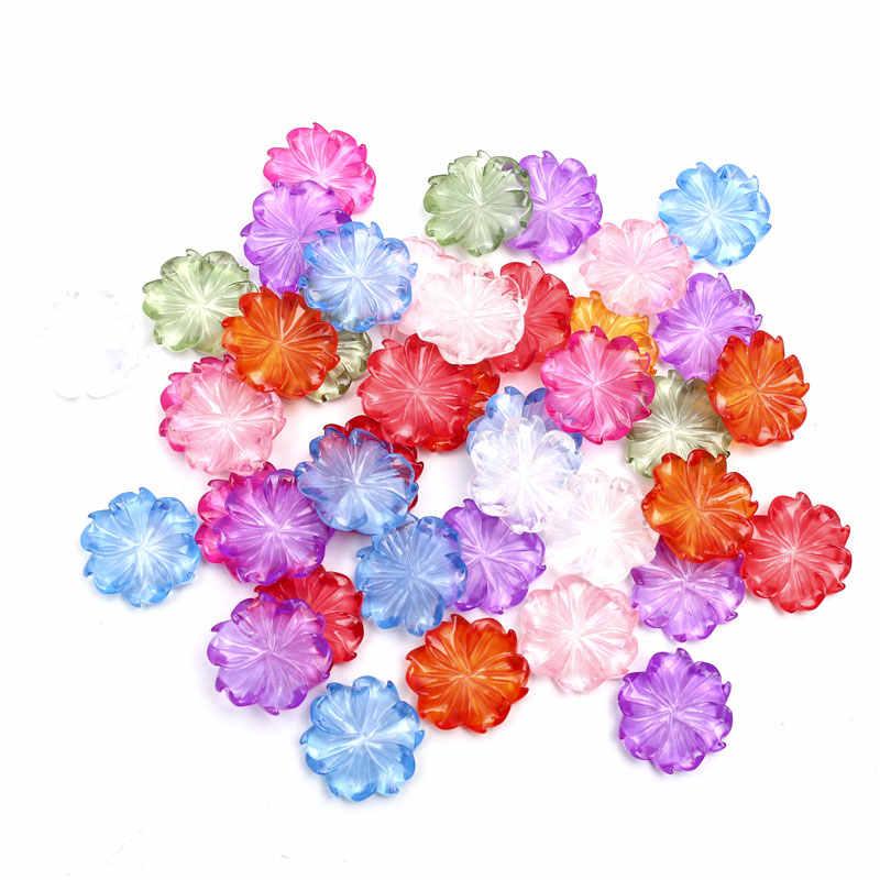 100pcs מעורב ברור פרחי שרף קישוט מלאכת Flatback קישוטי קבושון רעיונות Diy אביזרים