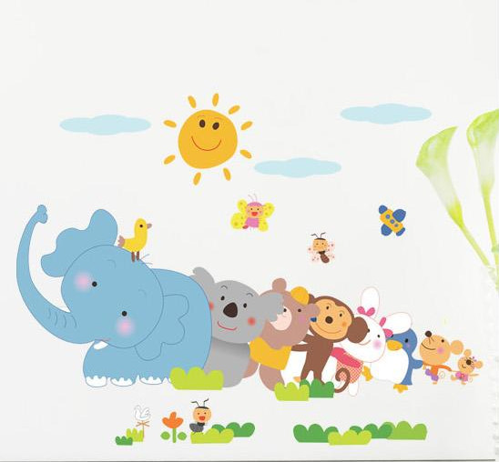 DIY Elephant Monkey Animal ZOO For Kids Baby Room Wall Sticker Paper Decor Decal Kids Bedroom Home Decor House LM1003