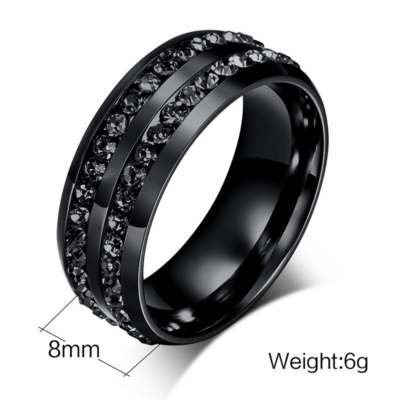 ZORCVENS High Quality Male Punk Vintage Black Stainless Steel Jewelry Two Rows CZ Stone Wedding Ring for Man Woman 1