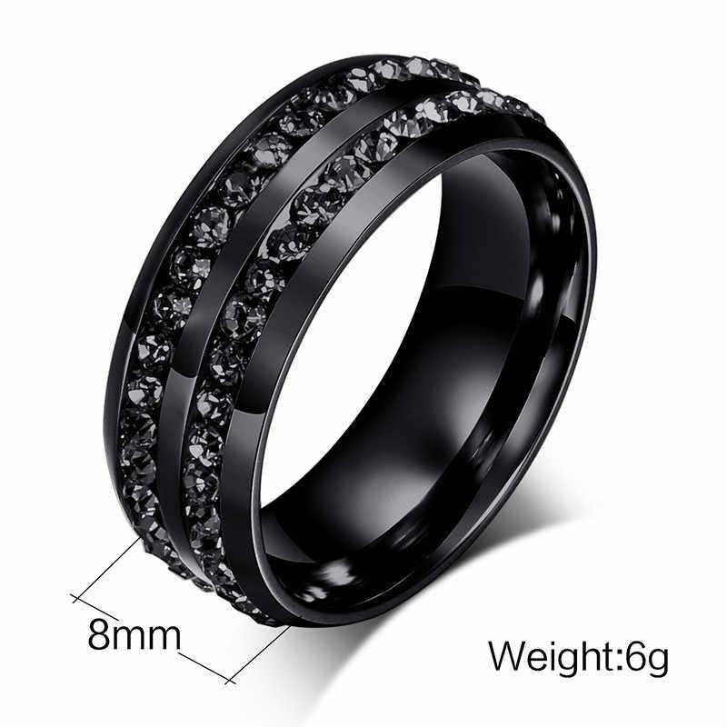 ZORCVENS wysokiej jakości mężczyzna Punk w stylu Vintage czarny ze stali nierdzewnej biżuteria ze stali nierdzewnej dwa wiersze CZ kamień Wedding Ring dla człowieka kobieta
