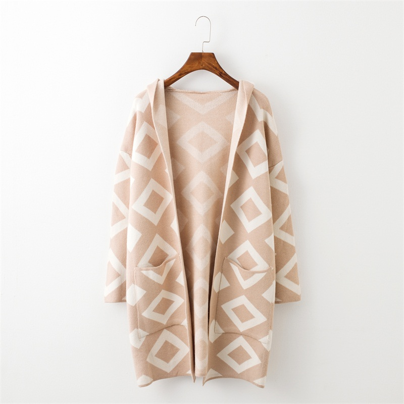 New Brand Long Cardigan Sweater Coat for Women Casual Hooded Poncho Sweater Cardigans Geomertric Print Winter Warm Sweater Coat