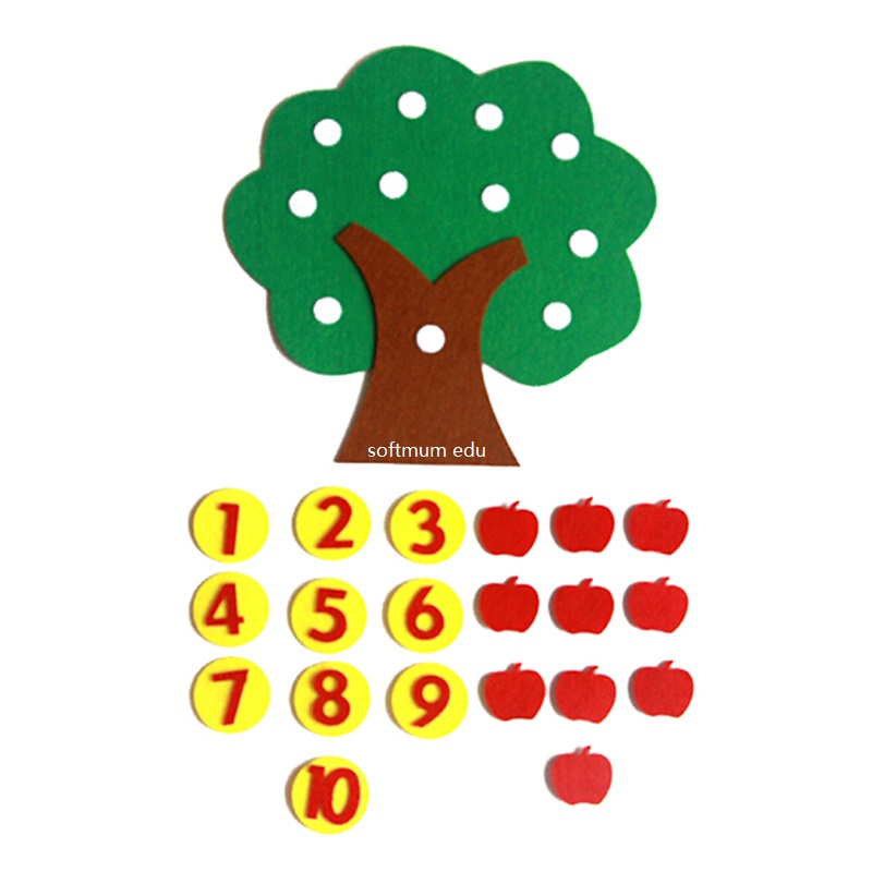 Children Math Apple Trees Toys Montessori Teaching Aids Counting 1-10 Kindergarten Manual Diy Cloth Early Learning Education Toy