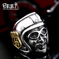 Beier new store 316L Stainless Steel ring high quality Route 66 live to ride Biker ring for men  fashion jewelry BR8-378