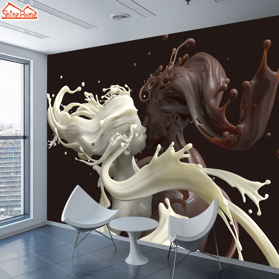 ShineHome-Abstract Wallpaper 3d Stereoscopic for Walls Wallpapers 3 d Coffee Milk Lovers Liquid Sculpture Cafe Bar Wall Paper shinehome abstract brick black white polygons background wallpapers rolls 3 d wallpaper for livingroom walls 3d room paper roll