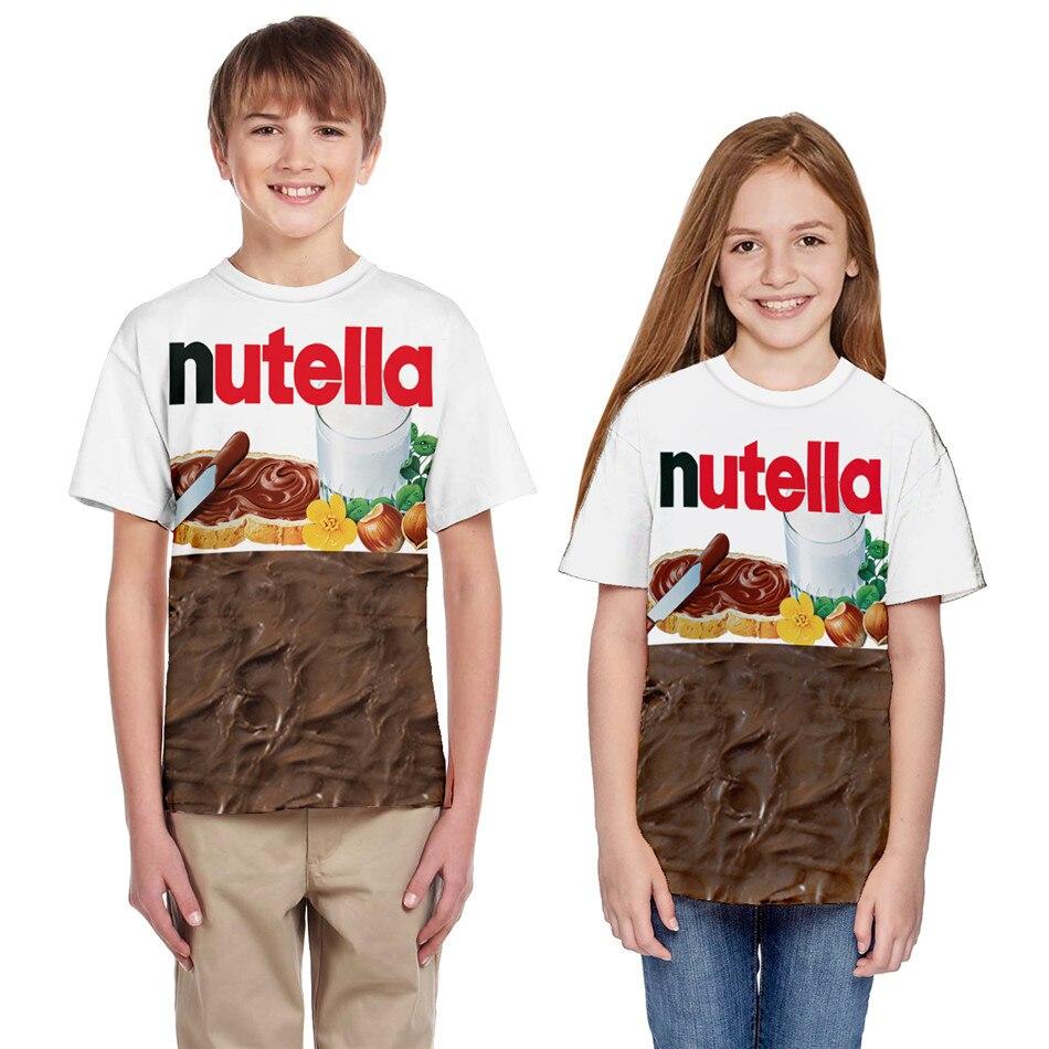 T-Shirt Boy Sauce Nutella Funny Print Girls Kids Summer 3D Pullover Parody Food-Chocolate