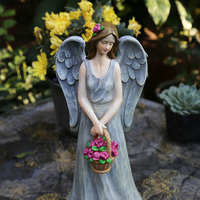Resin Angel Fairy Flower basket Girl House American Country Courtyard Figurine Decoration Coffee Retro Desktop Ornament