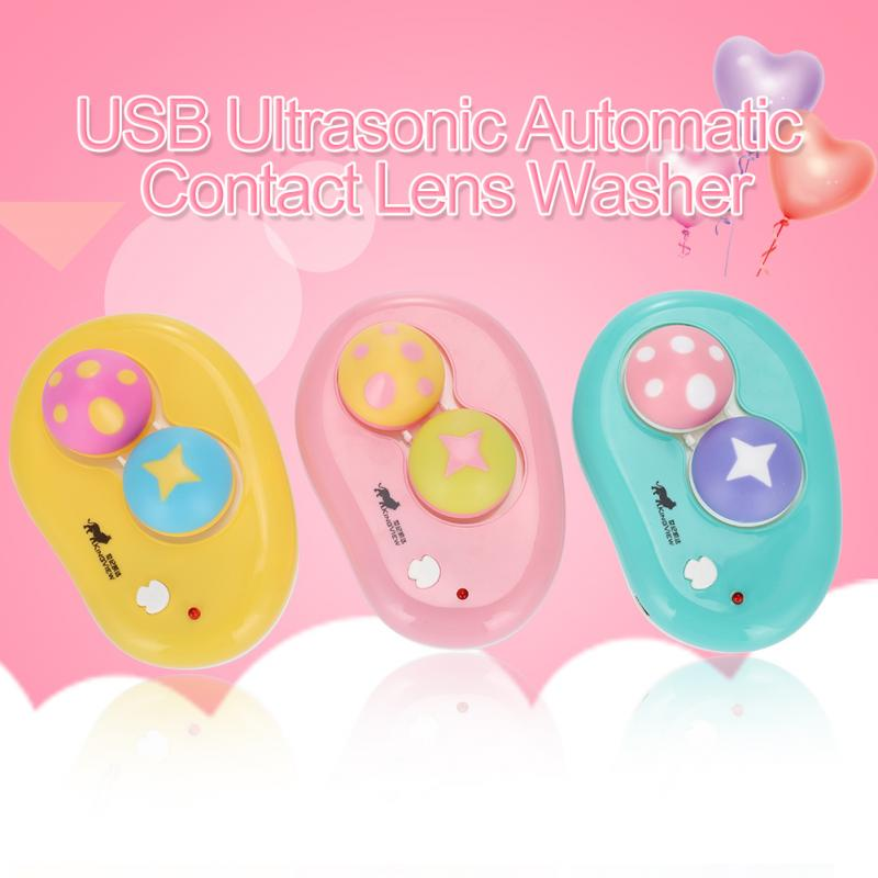 USB Ultrasonic Automatic Contact Lens Washer Cleaner Case Contact Lens Container Cute Mashroom Eyes Care Tools