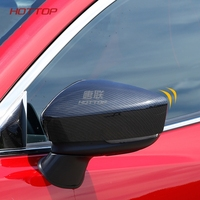 HOTTOP carbon fiber Car outside exterior rearview mirror caps cover For Mazda 3 Axela 2014 2017, sticking on type