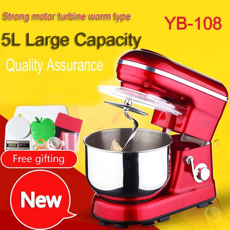1PC  5 Liters electric stand mixer, food mixer, food blender, cake/egg/dough mixer, milk shakes, milk mixer