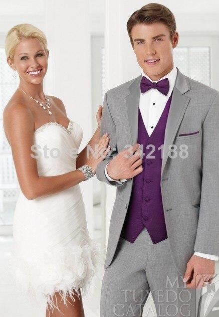 Online Shop Hot SaleGrey Colour Wedding Party Groom Tuxedos Men Suits Custom Wear Dressclothes Pants Tie Waistcoat