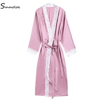 Smmoloa Bride Party Robe Wholesale Sleepwear Women Silk Long Robe