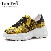 Taoffen Snakeskin Sneakers Women Genuine Leather Lace Up Platform Vulcanized Shoes Comfort Leisure Shoes Women Size 34 39