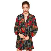 Spring Designer Jacket Women Floral Print Long Sleeve Stand Collar Bomber Femme Chiffon Baseball Outerwear Coats