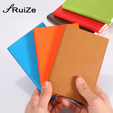 RuiZe 6 pcs / lot soft cover Leather pocket notebook A7 small notepad mini note book journal creative stationery high quality