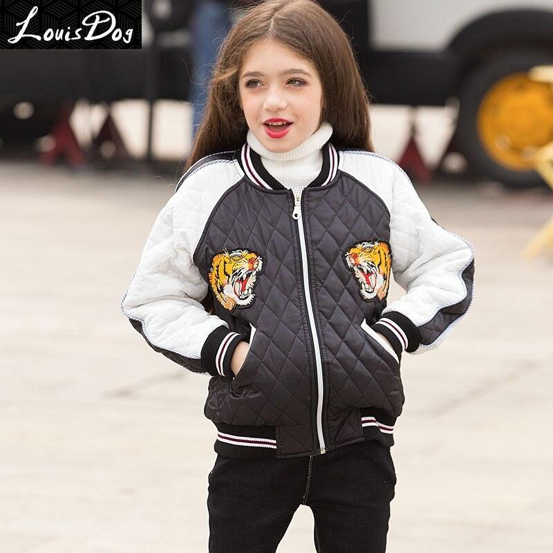 ФОТО LouisDog Winter jackets for teenage girls kids outerwear coats children's baseball jacket 2016 Autumn Winter girls clothes