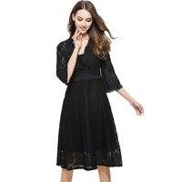 2017 Spring Runway Designer Lace Dress Women Hollow Out Tunic Black Grey Long Dress Femme Casual