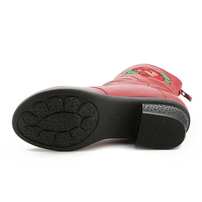 Xiuteng Hakiki Deri Kadın Ayakkabı Işlemeli Kare Düşük Topuk yarım çizmeler Kadın Kışlık Botlar Büyük Boy Kısa Peluş İç