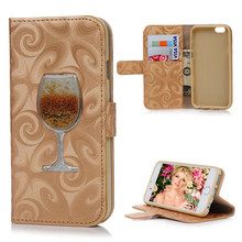 New 3D Wine Glass Quicksand Leather Phone Cases For iPhone 7 Plus 6 6s Plus 5 5s Luxury Wallet Flip Case Cover Liquid Shell  B65